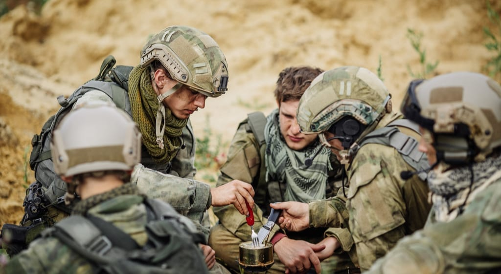Soliders eating