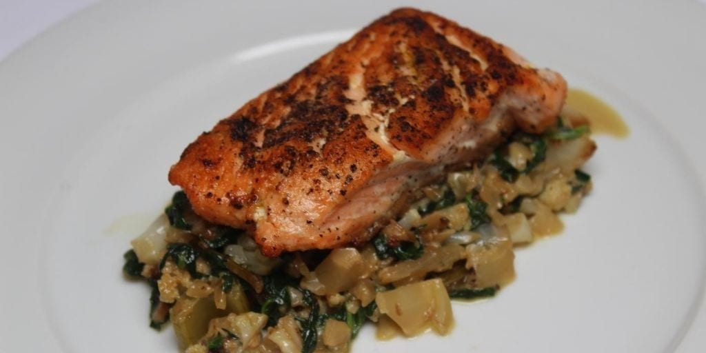 Keto Salmon Over Spinach Risotto