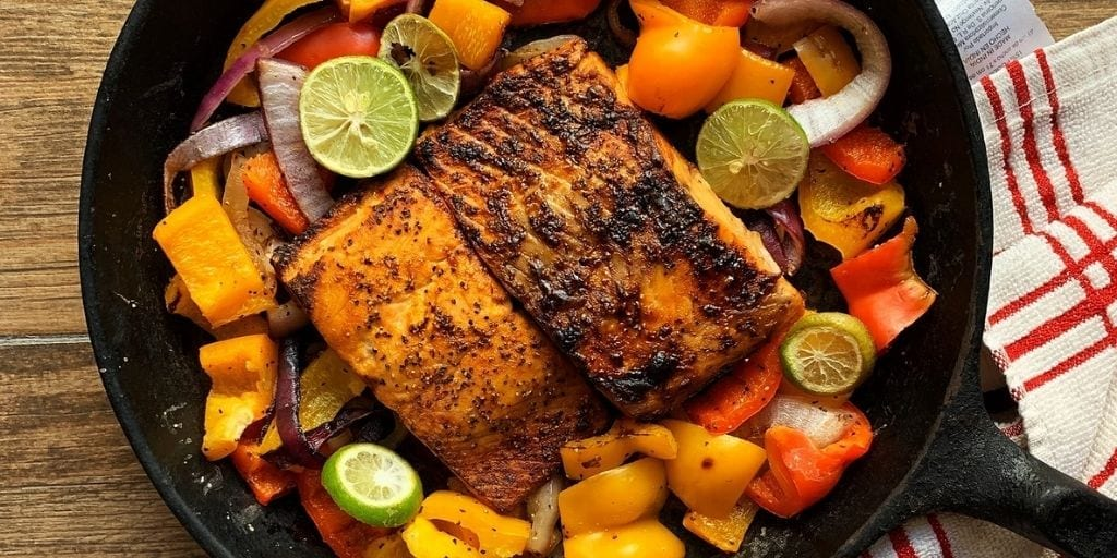 Air Fryer Salmon Skillet With Roasted Veggies